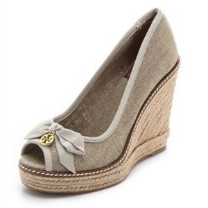 New Tory Burch Wedges Jackie Linen Espadrille
